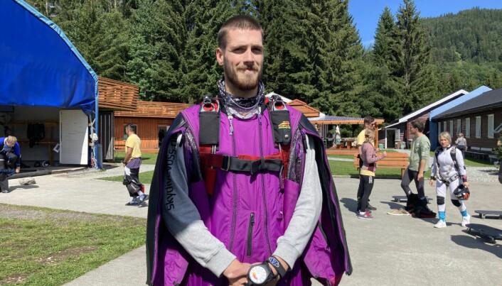 Joakim før runde 2 i wingsuit performance