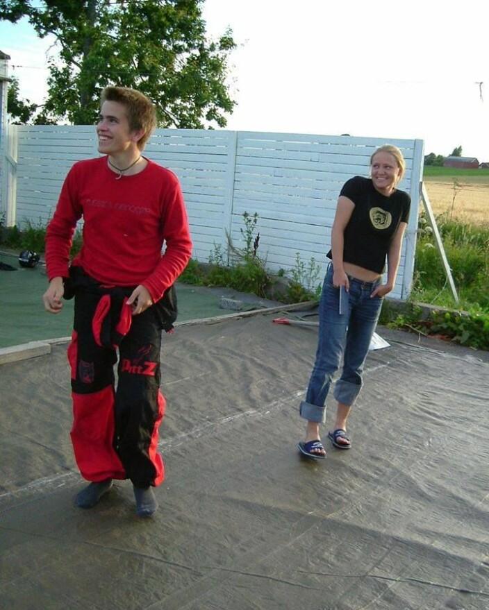 På Jarslberg med Stine, som jeg gikk på kurs med, sommeren 2003